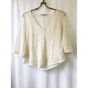 Zara cream lace cape top
